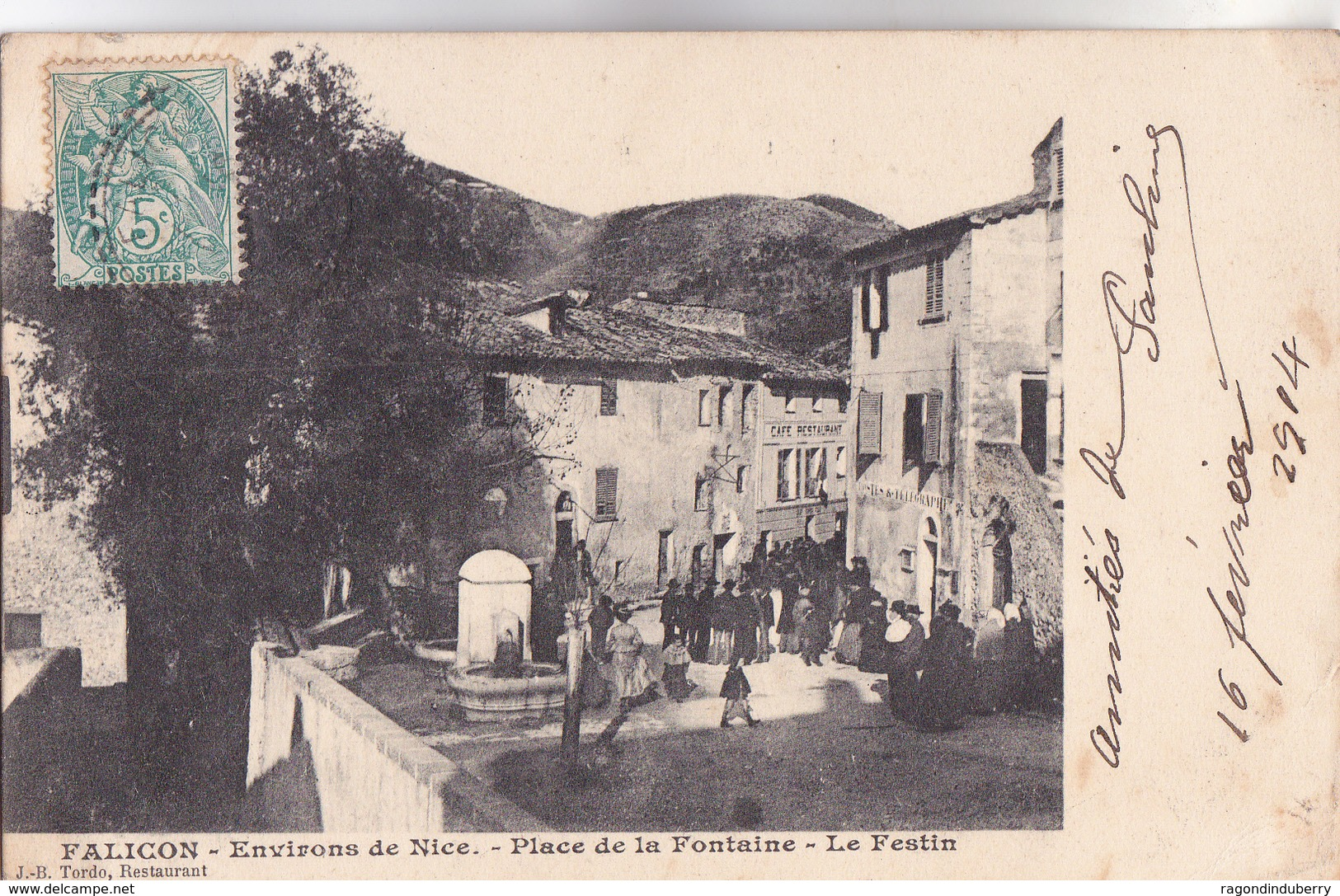 CPA - 06 - FALICON (Environs De NICE) - Place De La Fontaine - LE FESTIN - 1904 - Edit J.B.TORDO Restaurant - Frankrijk