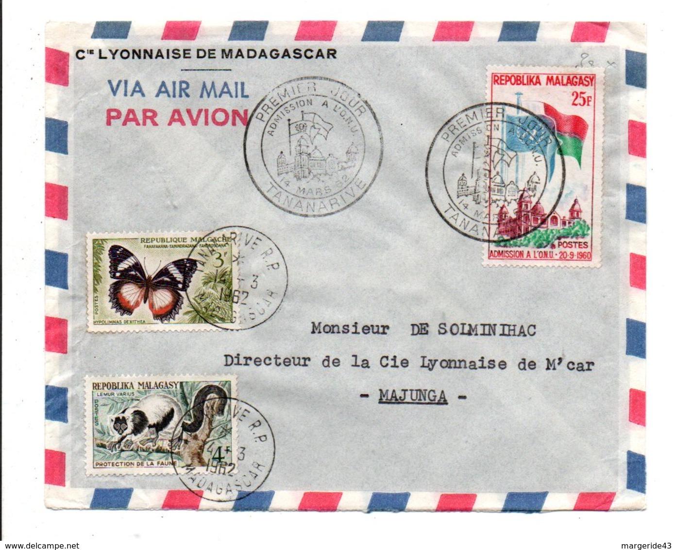 MADAGASCAR AFFRANCHISSEMENT COMPOSE SUR LETTRE INTERIEURE 1962 - Madagascar (1960-...)