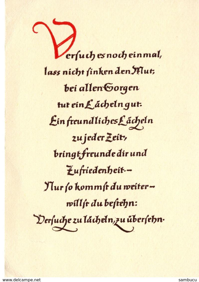 Spruch - Mut Sorgen Lächeln Zufriedenheit Ca 1950 - Feiern & Feste