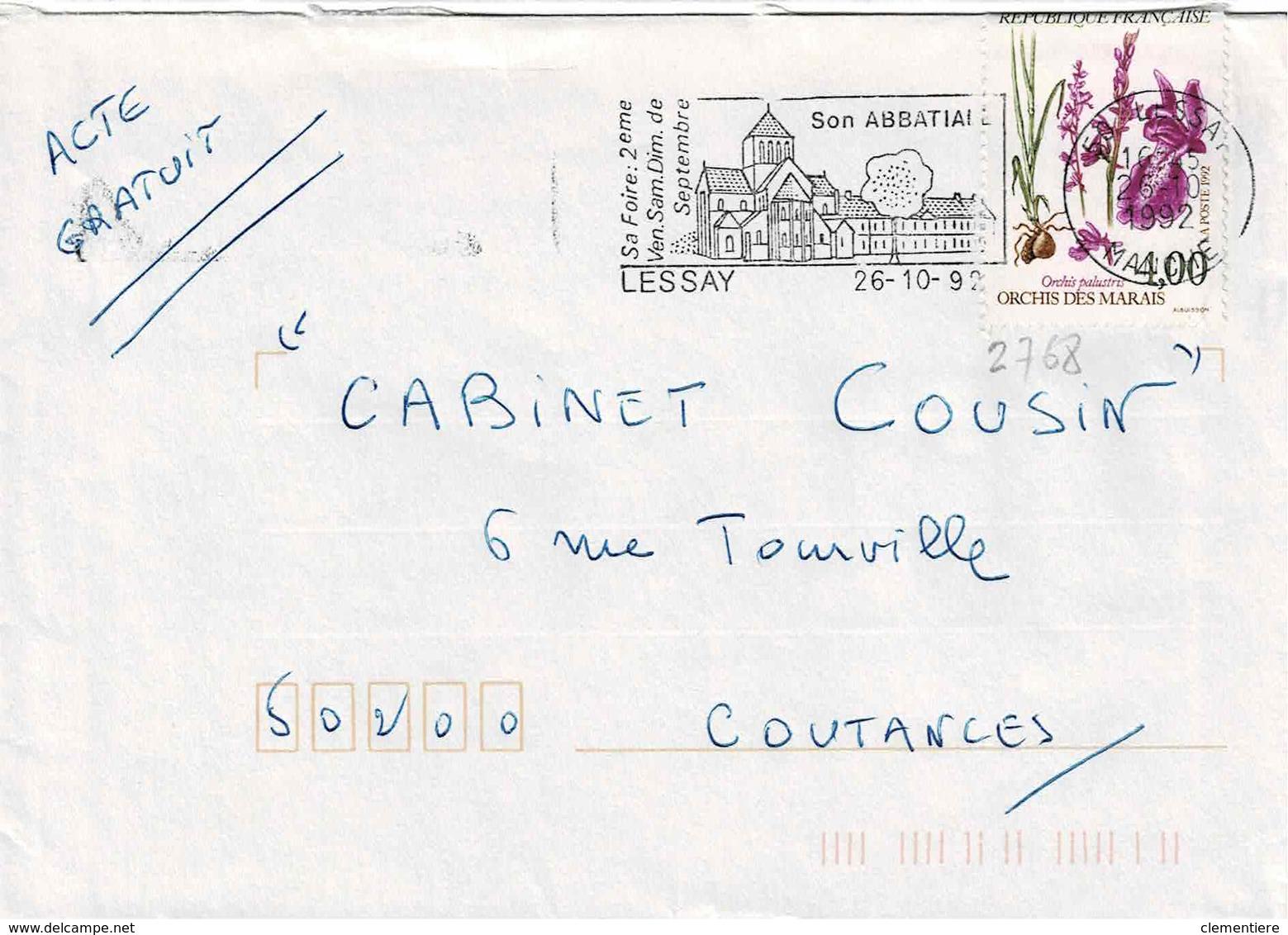 TP N° 2768 Seul Sur Enveloppe De Lessay - Storia Postale