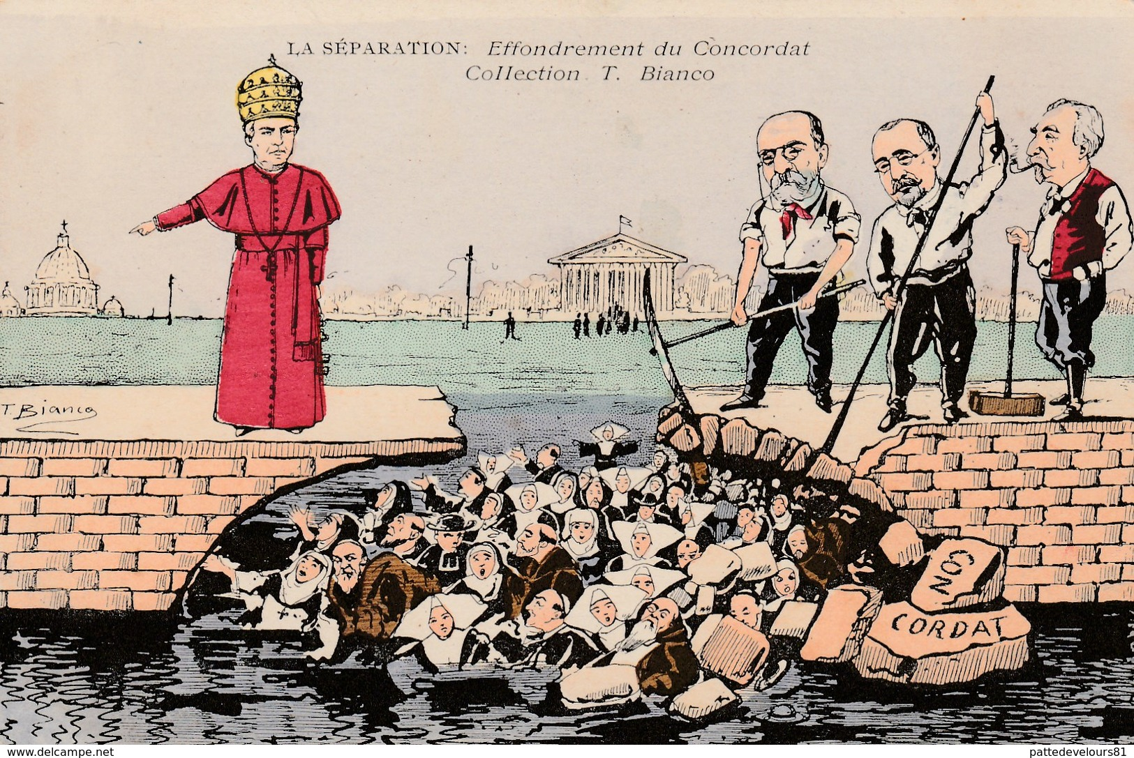 CPA Caricature Sairique Anti-Clérical Concordat COMBES / ROUVIER / DELCASSE Illustrateur T. BIANCO (2 Scans) - Satiriques