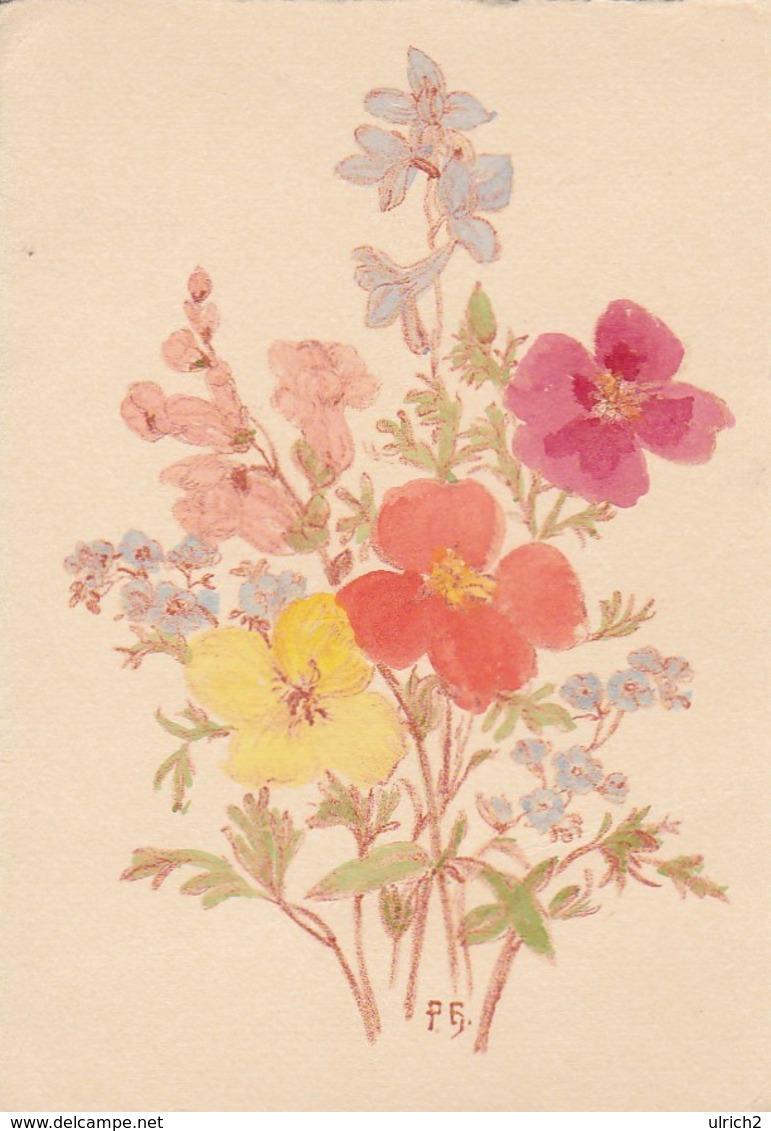 AK Blumenstrauß - Orig. Zeichnung, Aquarelliert - Hamburg 1943 (42938) - Blumen