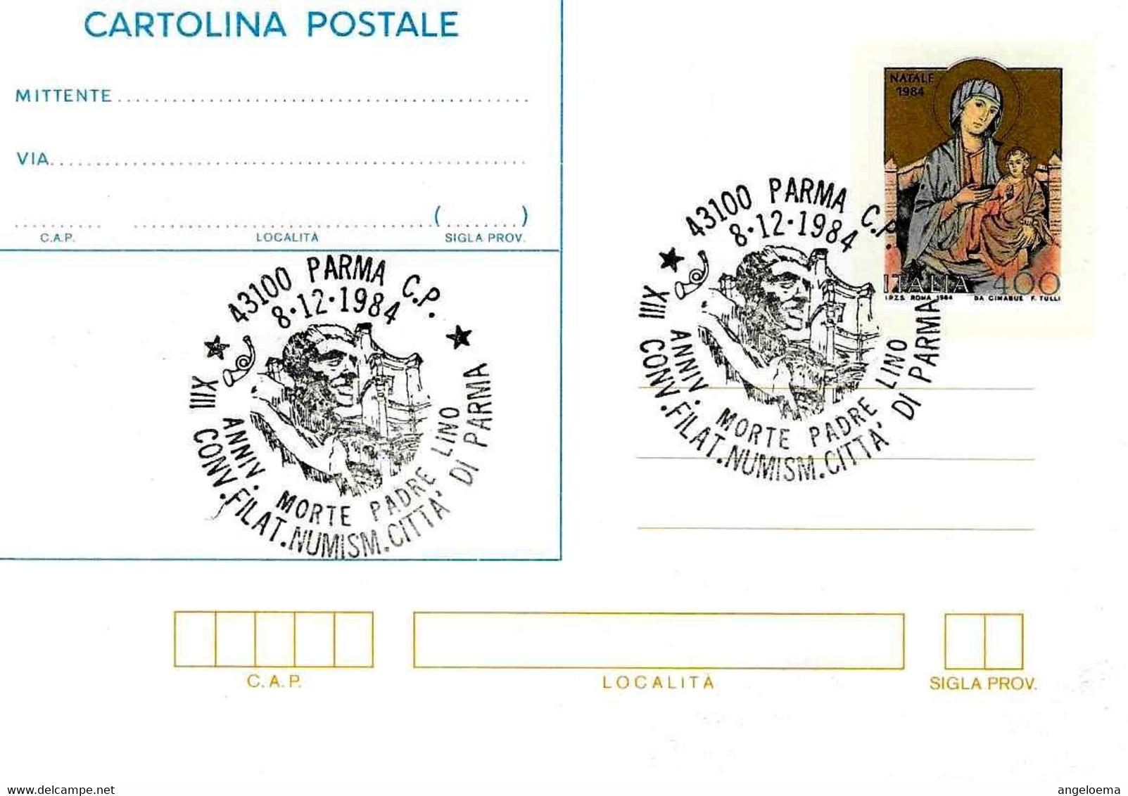 ITALIA - 1984 PARMA XIII Convegno Fil. - 60° Anniv. Morte Di Padre LINO Su Cartolina Postale CP Natale (CIMABUE) - Celebrità