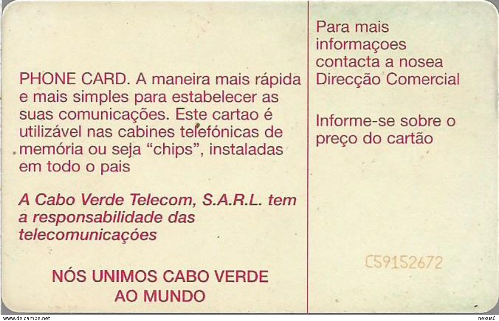 Cabo Verde - Cabo Verde Telecom - Red Logo (Cn. C59152672 Orange) 09.1995, 50U, SC7, Used - Cap Vert