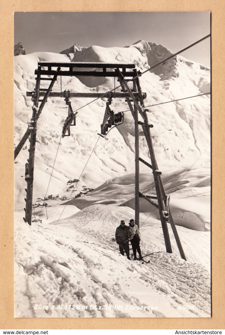AK Zürs, Skilift Zürsersee, Gel. 1953 - Zürs
