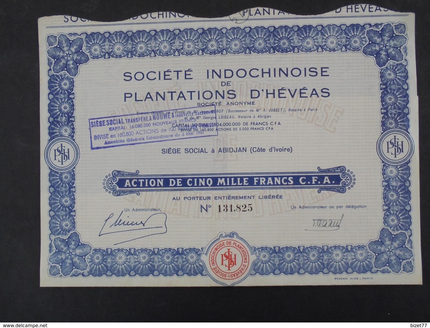 STE INDOCHINOISE DE PLANTATIONS D'HEVEAS - ACTION 5000 FRS - ABIDJAN, COTE D'IVOIRE - Shareholdings