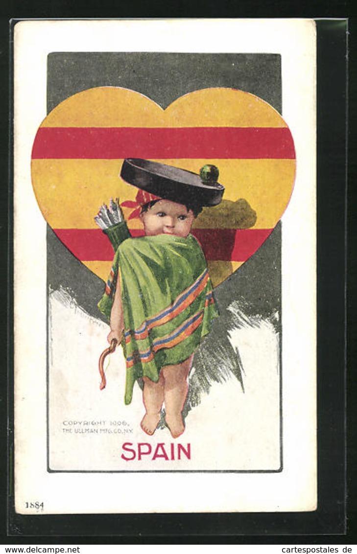 Künstler-AK Charles Henry Twelvetrees: National Cupid Series Number 75 Spain - Autres Illustrateurs