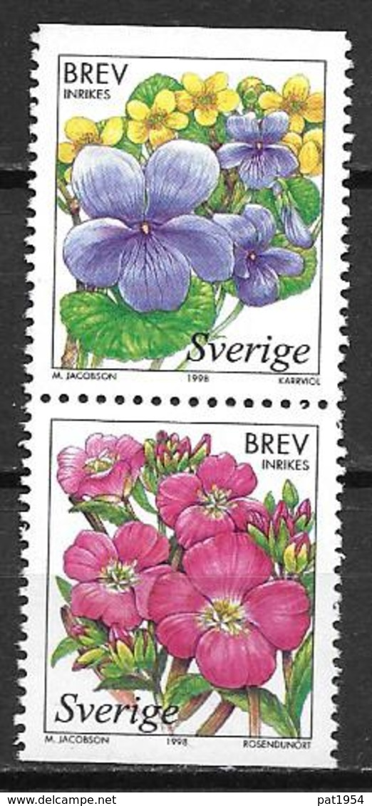 Suède 1998 2043/2044 Neufs Fleurs Des Marais - Sweden