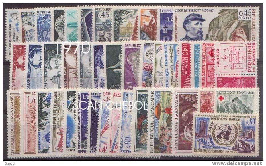 France - Année Complète Neuve 1970 ** Comprenant 42 Timbres - France