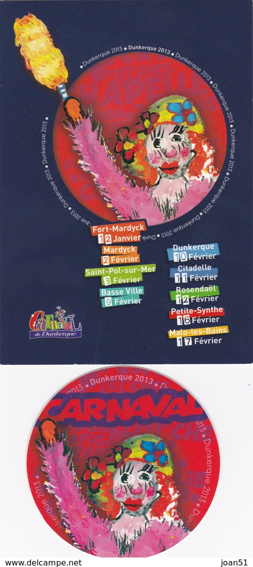 DUNKERQUE CARNAVAL DUNKERQUOIS  CARTE + AUTO COLLANT ANNEE 2013 N° 19 - Dunkerque