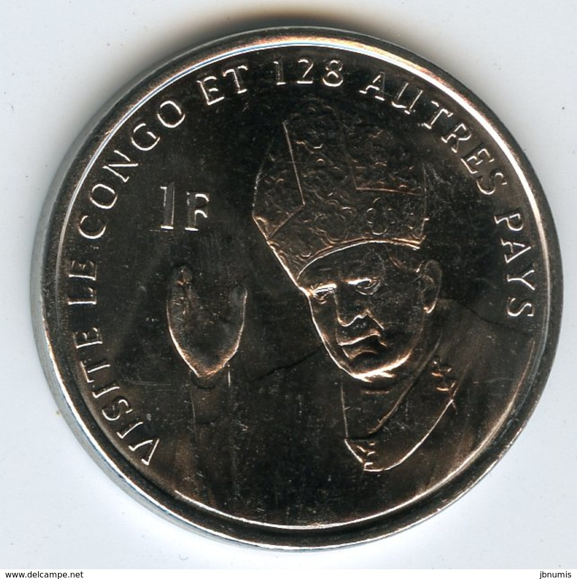 Pope John Paul II as newly elected pope in 1978 2004 Congo 1 Franc Unc