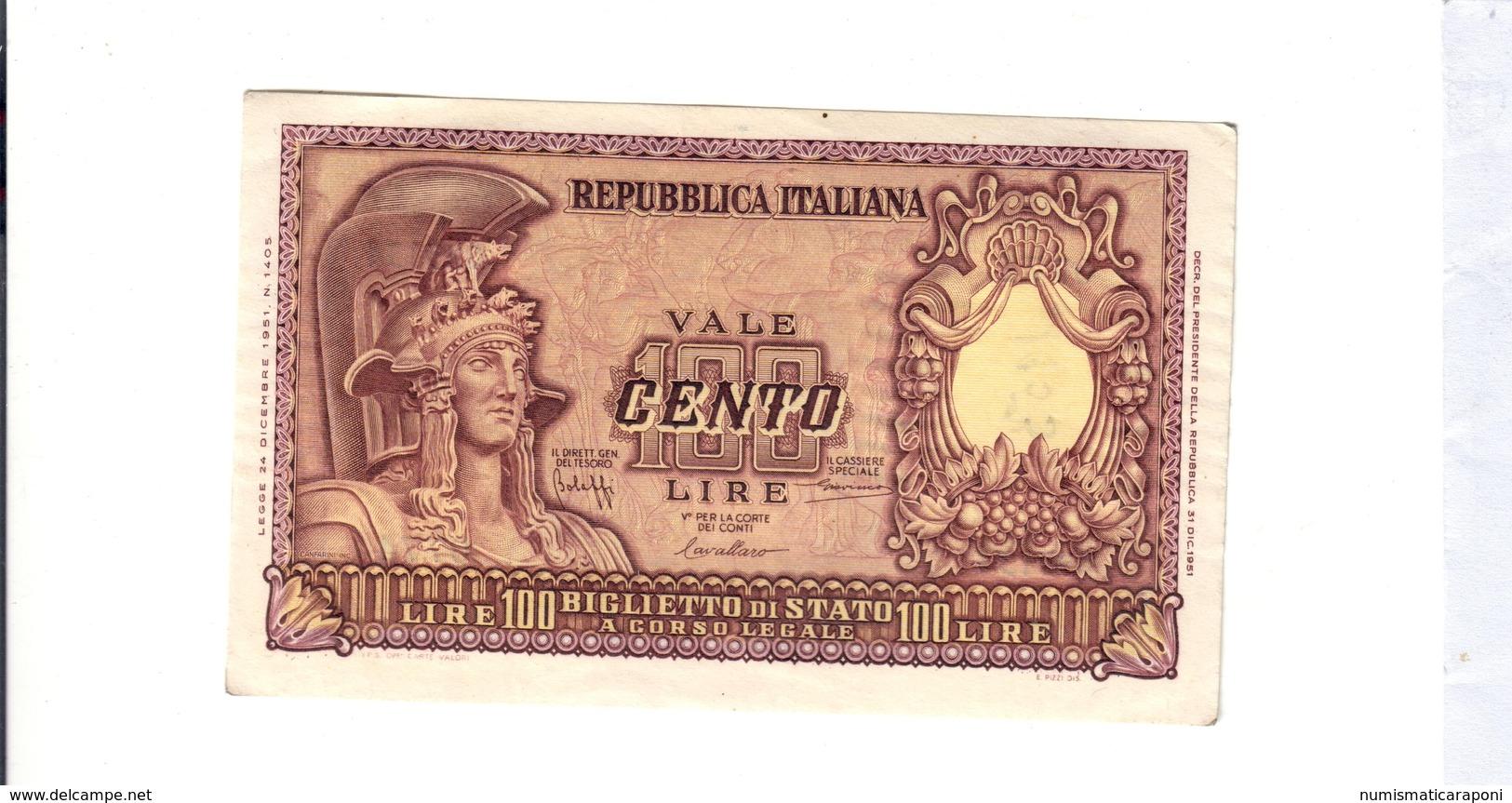 100 Lire 1951 Italia Elmata Scritta 1953 Al R.  LOTTO 2690 - 100 Lire