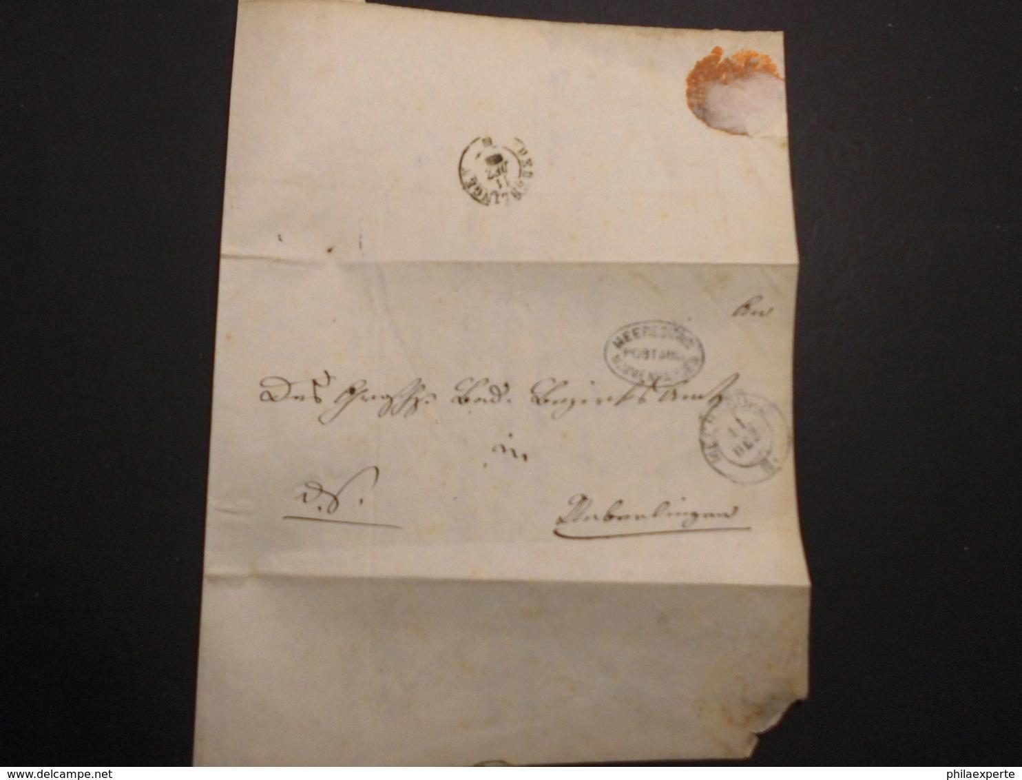 Baden Dienst Brief Postablage Meersburg/Mimmenhausen Auf Doppelt Verwendetem Umschlag 11.12. 1867-selten - Baden