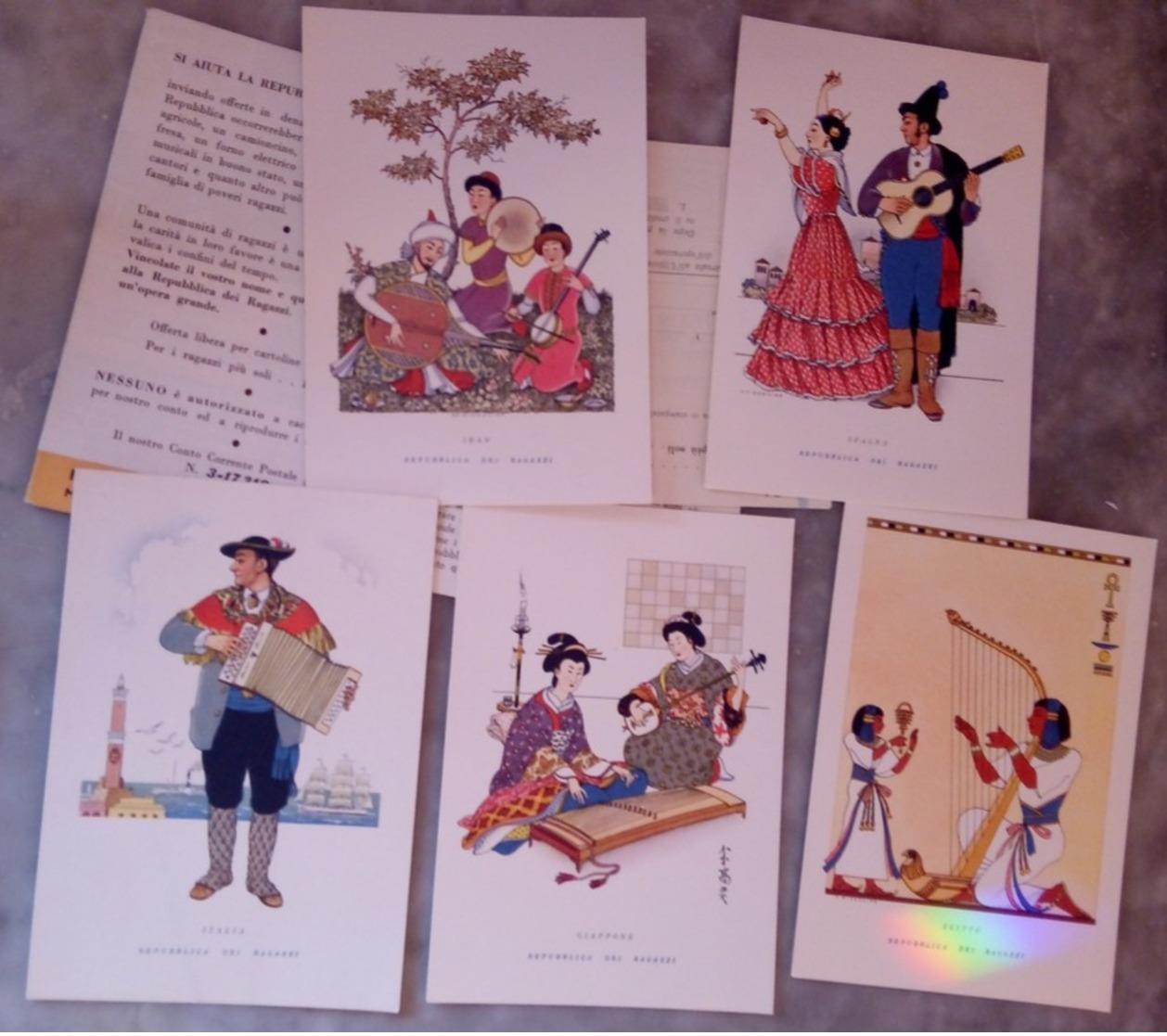 5 Cartoline Repubblica Dei Ragazzi Prima Serie Ritmi E Suoni - Illustratori & Fotografie