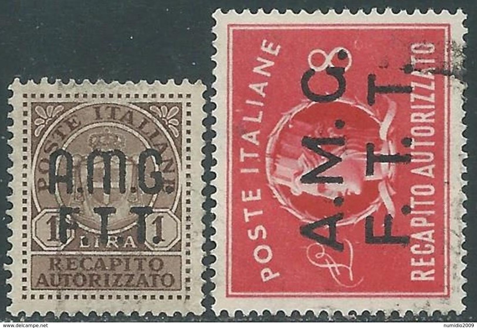 1947 TRIESTE A RECAPITO AUTORIZZATO USATO 2 VALORI - RA28-2 - Eilsendung (Eilpost)