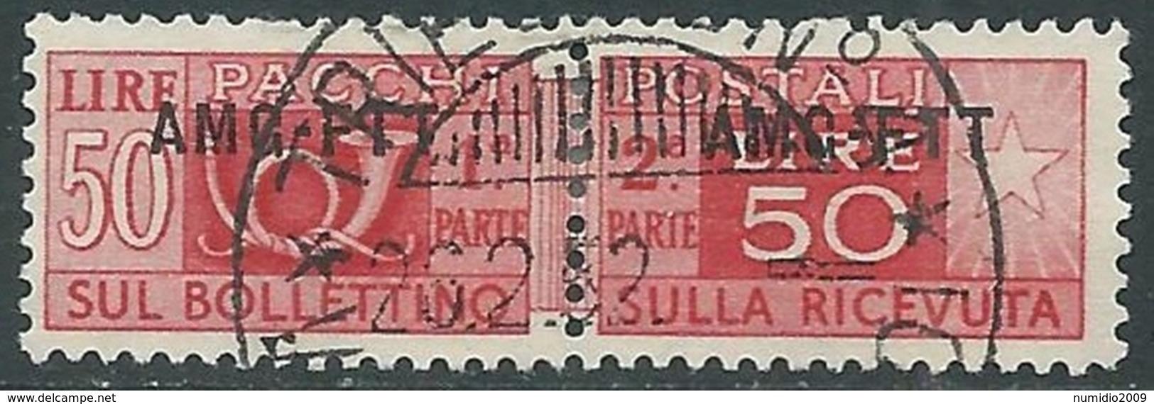 1949-53 TRIESTE A PACCHI POSTALI USATO 50 LIRE - RA28-8 - Pacchi Postali/in Concessione