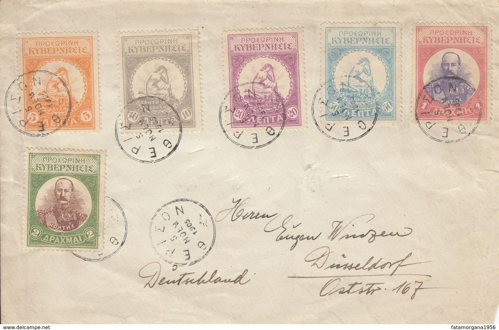 CRETA Governo Degli Insorti - 1905 - Busta Viaggiata Affrancata Con Serie Completa Di 6 Valori: Yvert 9/14. - Crete