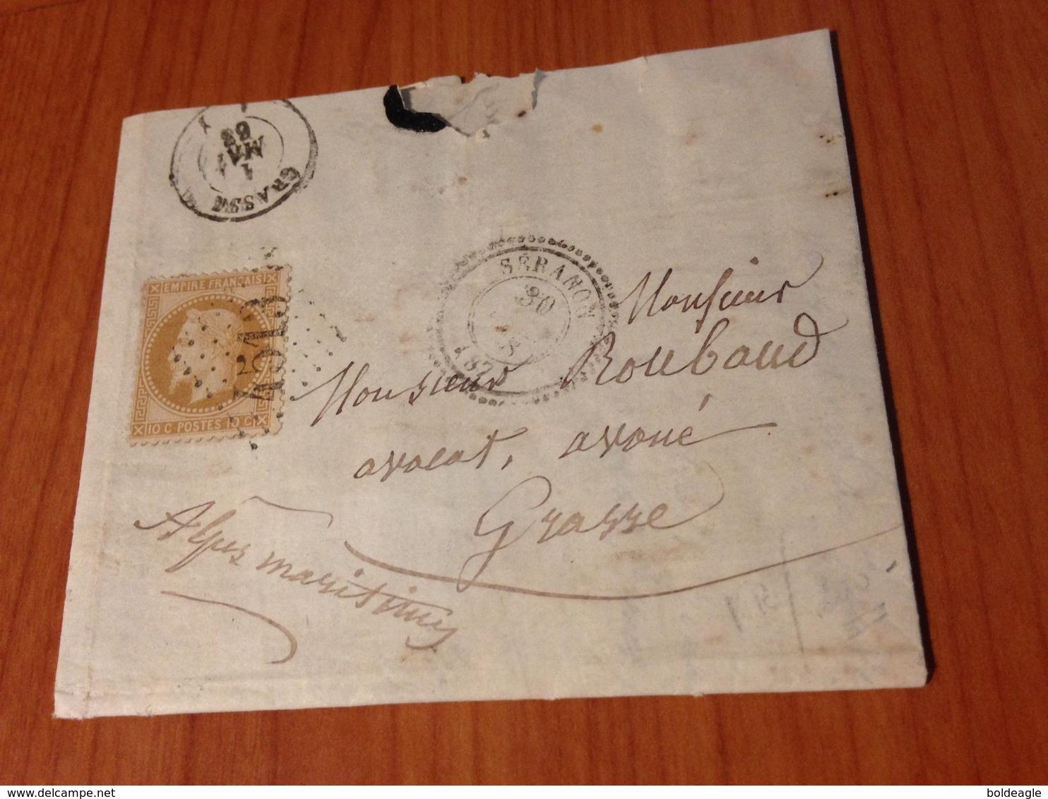 SERANON  ( 06)  GC 4513 - INDICE 12.5 (pothion )- Lettre Ecrite 1868 -  (port à Ma Charge ) - 1849-1876: Classic Period