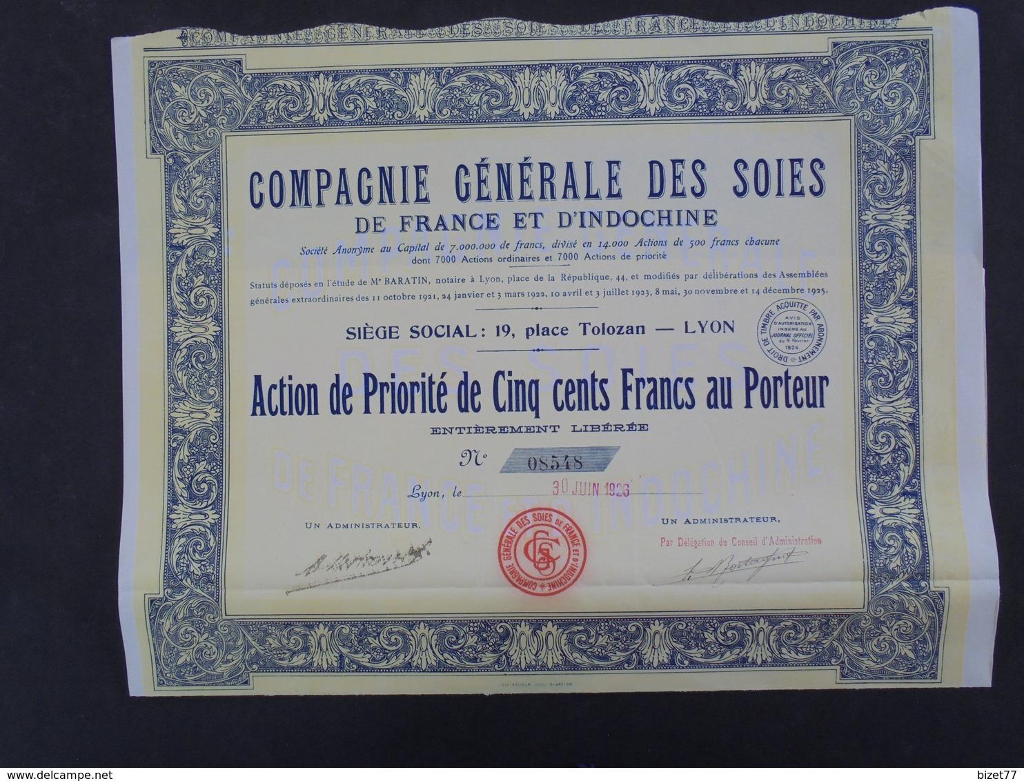 INDOCHINE - CIE GENERALE DES SOIES DE FRANCE ET D'INDOCHINE - ACTION DE PRIORITE 500 FRS - LYON 1926 - Zonder Classificatie