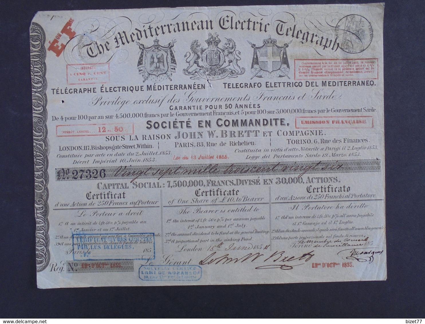 LONDRES 1854 - THE MDEITERRANEAN ELECTRIC TELEGRAPH - CERTIFICAT D'ACTION DE 10 £ - DECO - Shareholdings