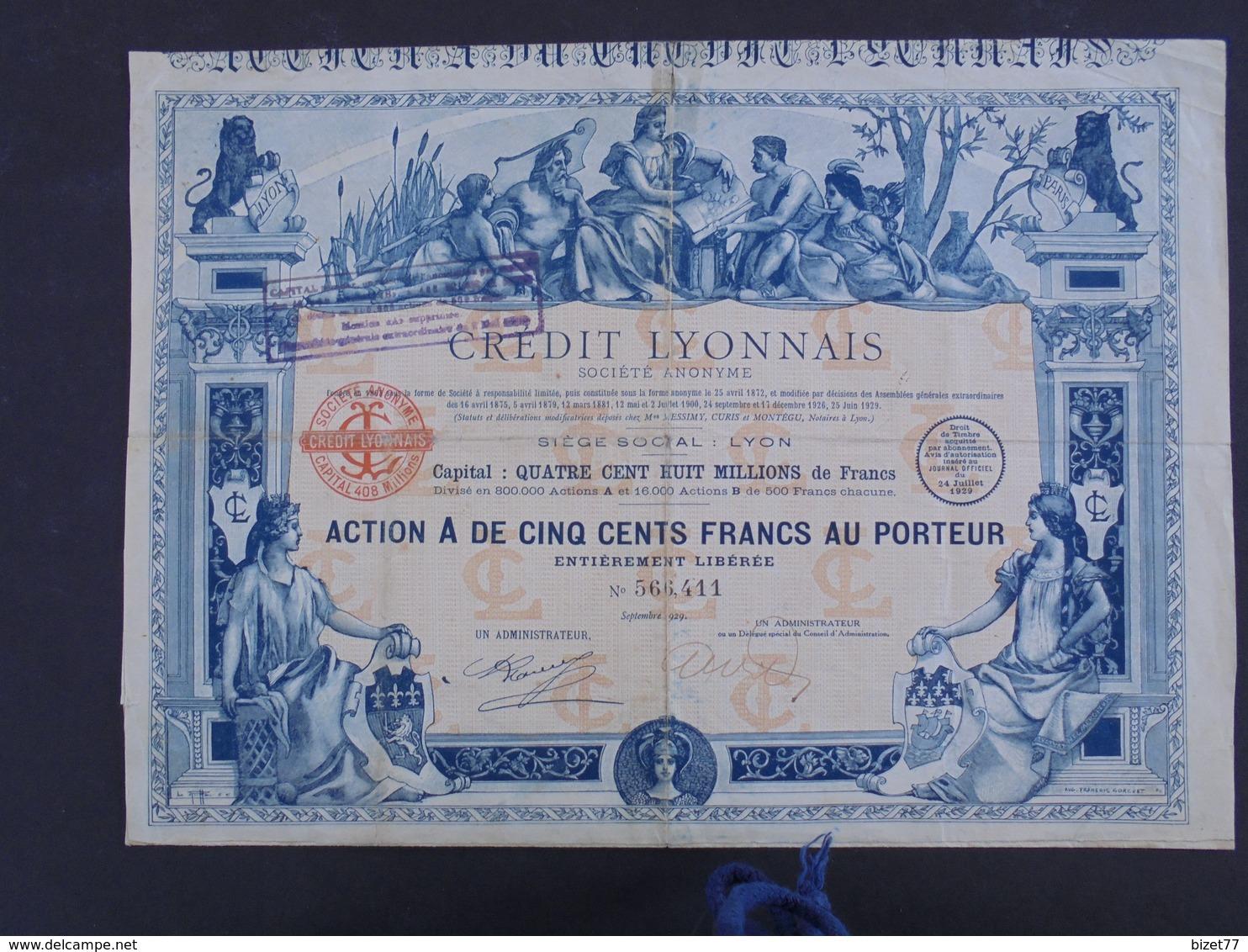 FRANCE, CREDIT LYONNAIS 1929 - ACTION A DE 500 FRS - ETAT TRES MOYEN : TITRE AYANT BEAUCOUP CIRCULE, VOIR SCAN - Shareholdings