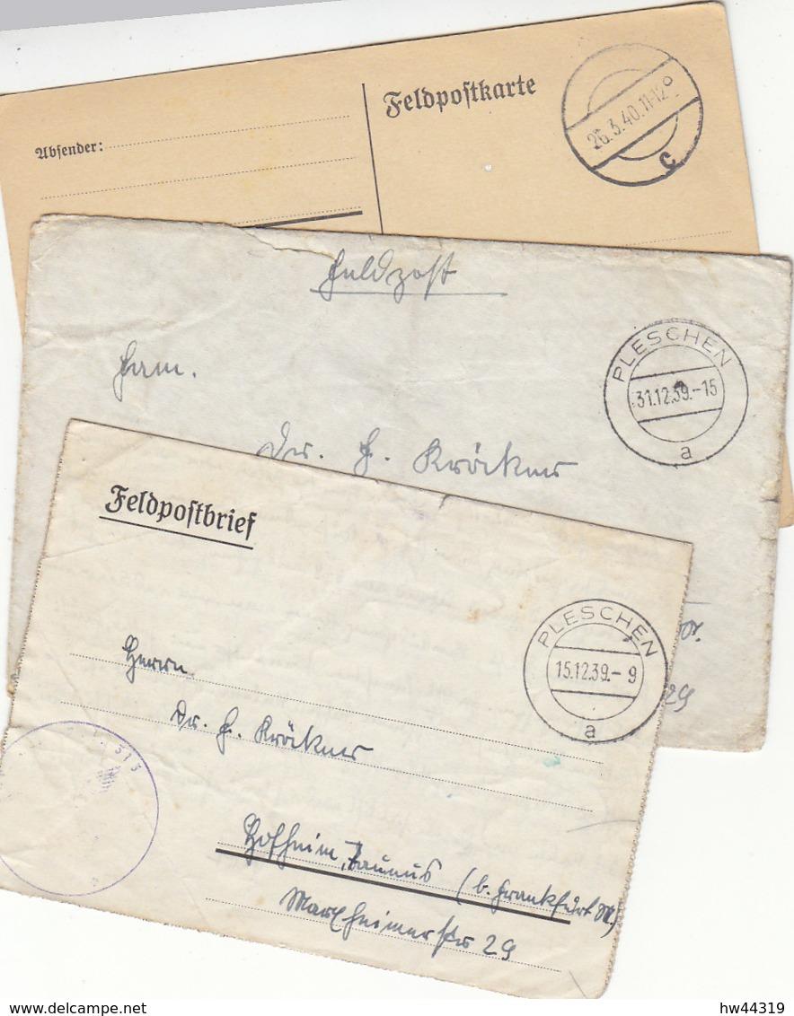 Drei Feldpostbelege Aus PLESCHEN / Sehen Mitgenommen Aus - 1939-44: 2. WK