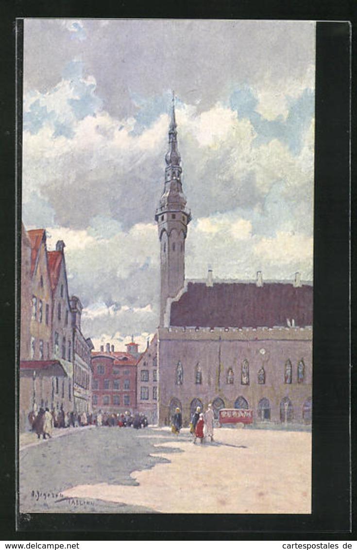 Künstler-AK Tallinn, Town Hall - Estland