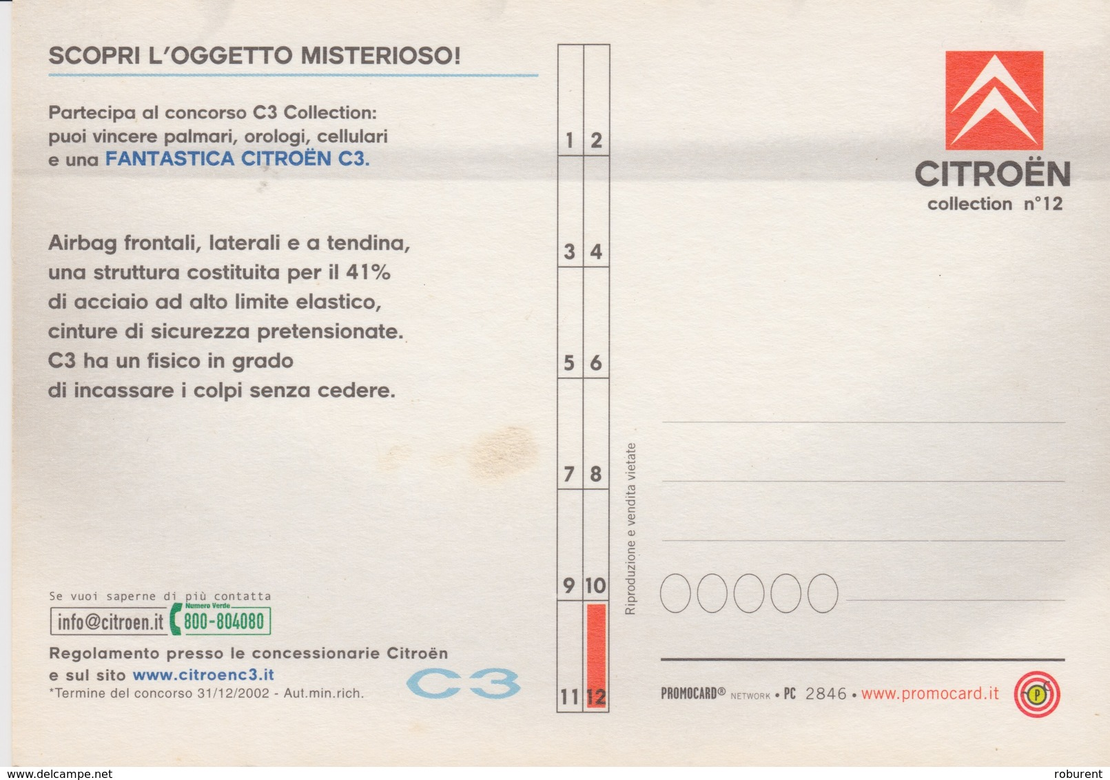 "PUBBLICITA' ADVERTISING CARTOLINA PROMOCARD ""CITROEN"" - N° 2846 - Pubblicitari"