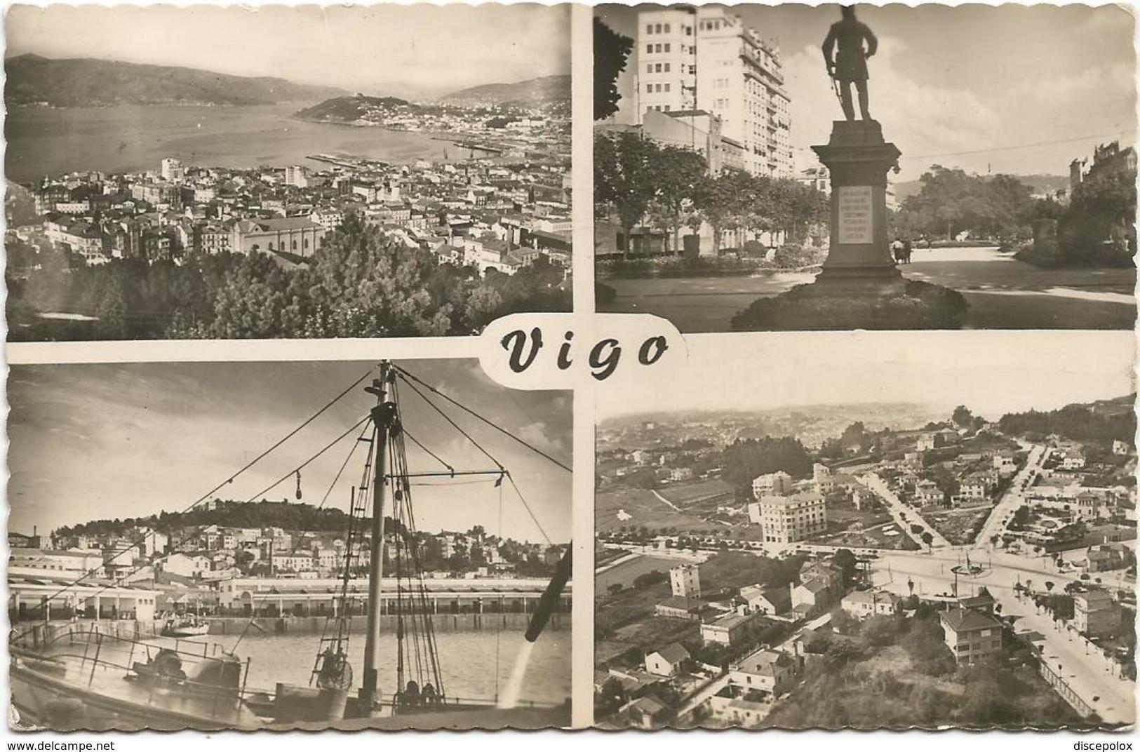 W4234 Vigo - La Alameda - El Barbes Y Monte Del Castro - Plaza De Espana / Viaggiata 1956 - Pontevedra