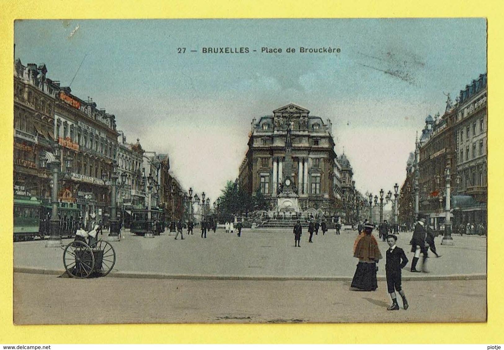 * Brussel - Bruxelles - Brussels * (Edit Grand Bazar Anspach, Nr 27) Place De Brouckère, Tram, Vicinal, Animée, TOP - Brussel (Stad)