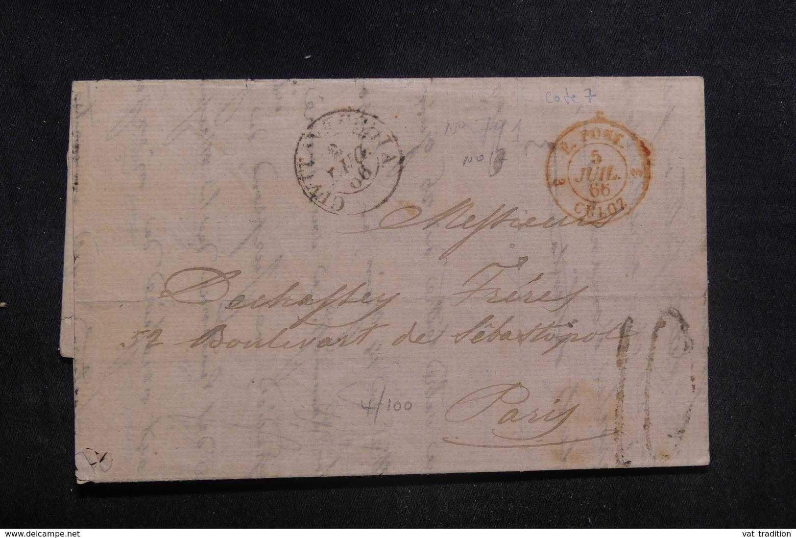 """FRANCE - Cachet D'entrée """" E.PONT / CULOZ """" Sur Lettre Pour Paris En 1866 - L 38586 - Storia Postale"""