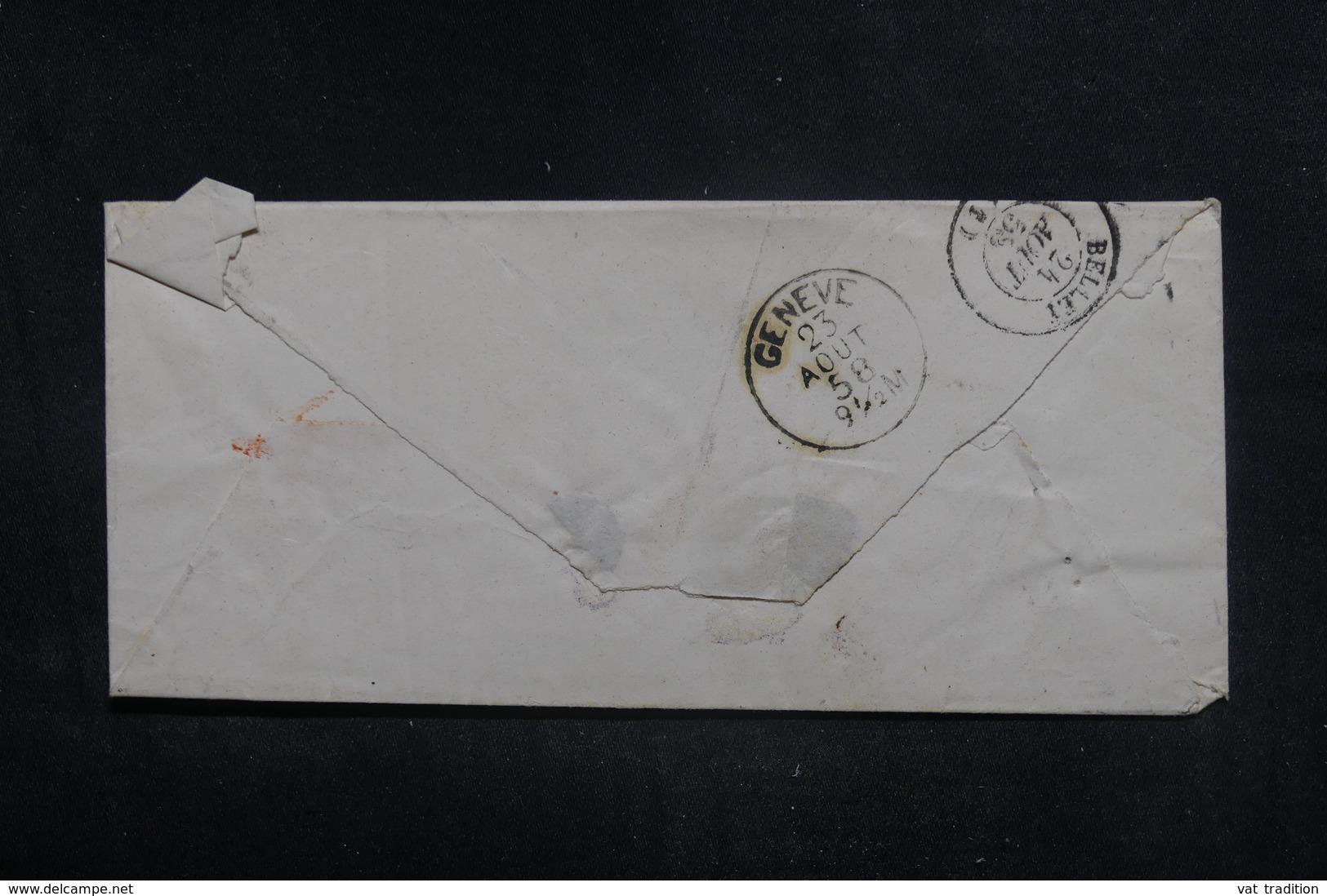 """FRANCE - Cachet D'entrée """" SUISSE AMB. GENEVE B """" Sur Enveloppe De Carouge Pour Belley En 1858 - L 38593 - Marques D'entrées"""