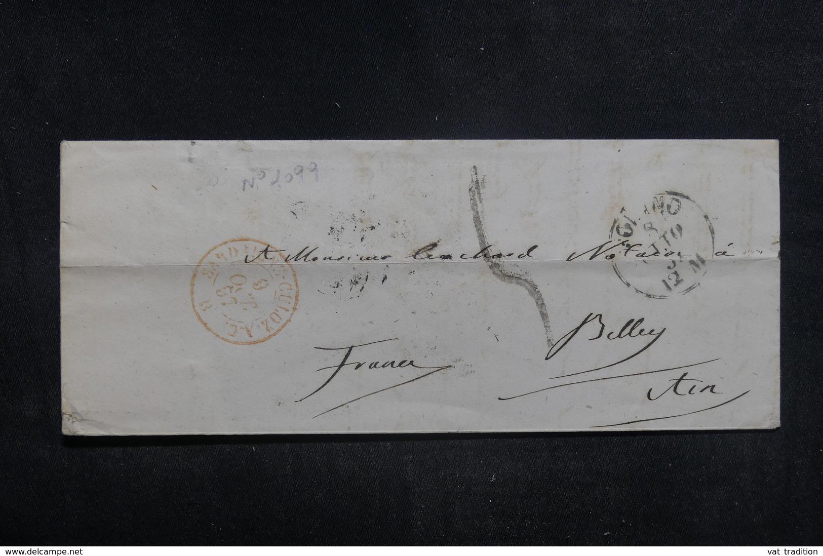 """FRANCE - Cachet D'entrée """" Sardaigne - Culoz - A.C."""" Sur Enveloppe Pour Belley - L 38595 - Marcophilie (Lettres)"""