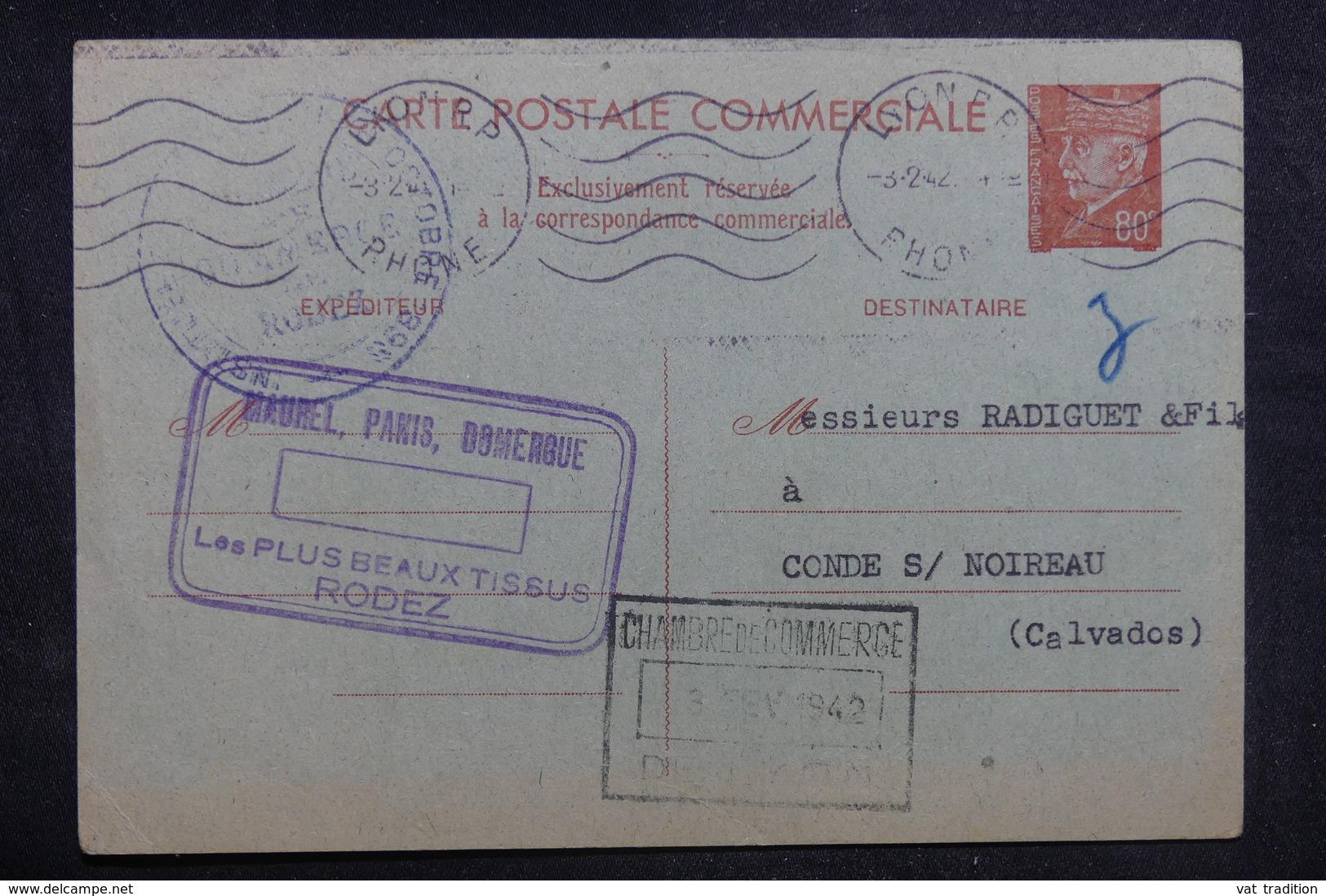 FRANCE - Entier Postal Commerciale Type Pétain De Lyon Pour Condé / Noireau En 1942 - L 38599 - Entiers Postaux