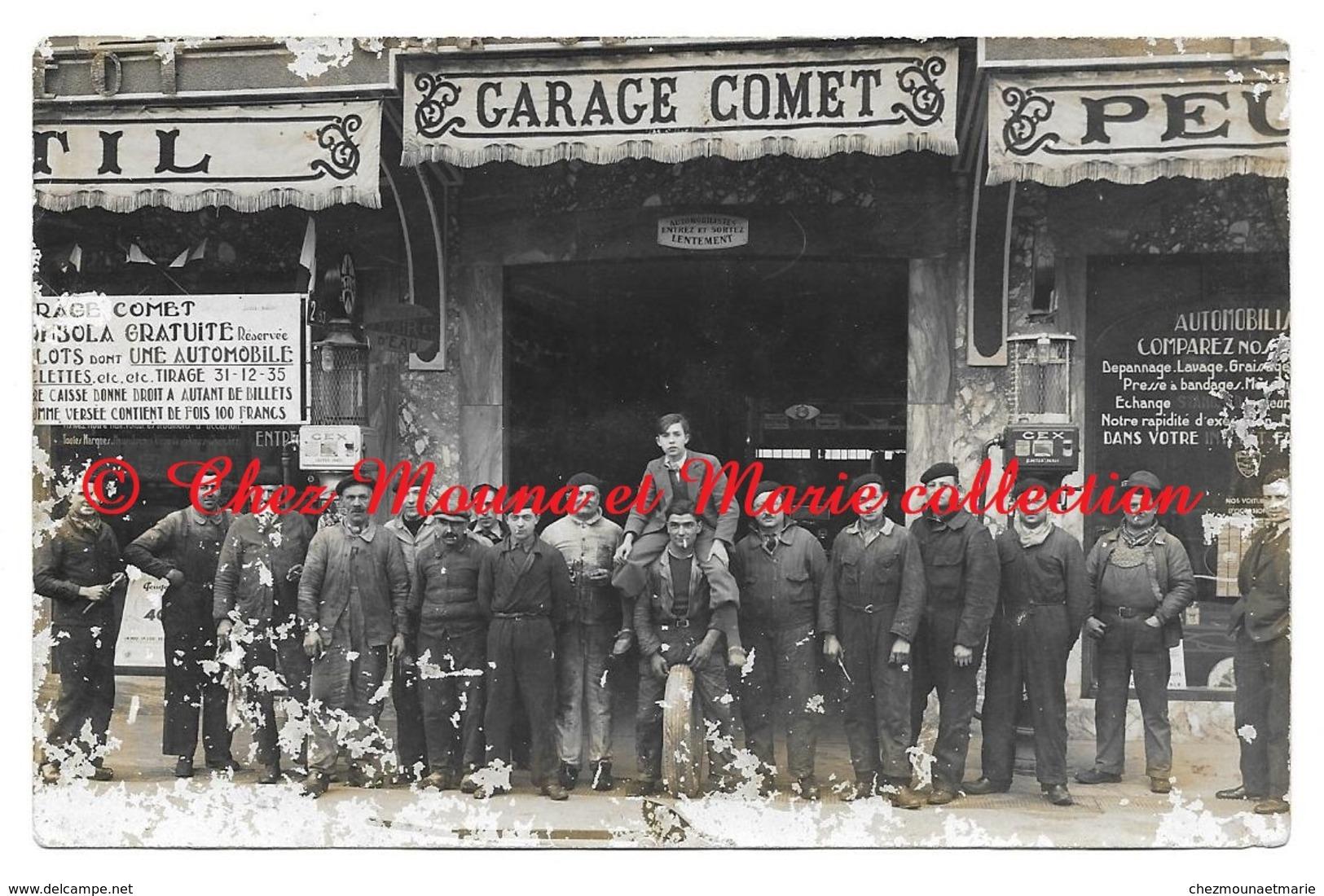 GARAGE AUTOMOBILE COMET - PEUGEOT - POMPE GEX ASTER PARIS - CARTE PHOTO A SITUER PEUT ETRE SAINT GAUDENS HAUTE GARONNE - Magasins