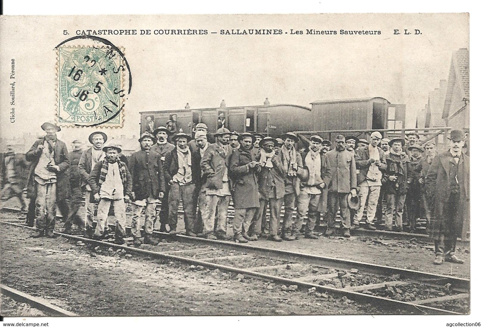 COURRIERES. CATASTROPHE. SALLAUMINES. LES MINEURS SAUVETEURS - France