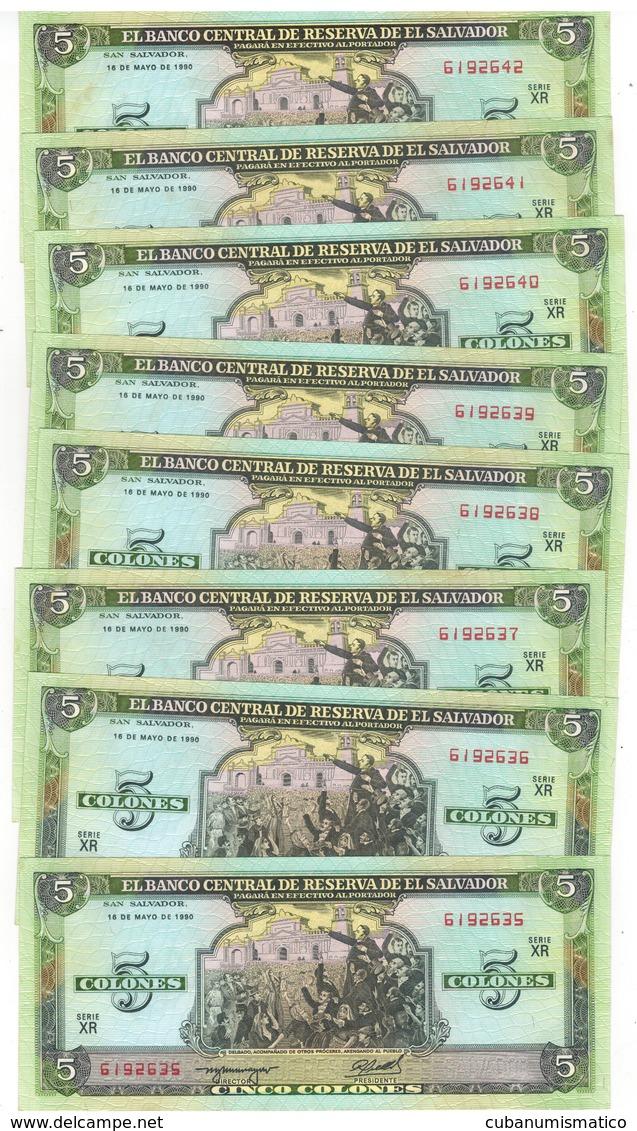 El Salvador 5 Colones 1990, UNC, COSEC. NUMBERS. (7.50 Usd X1) - Salvador