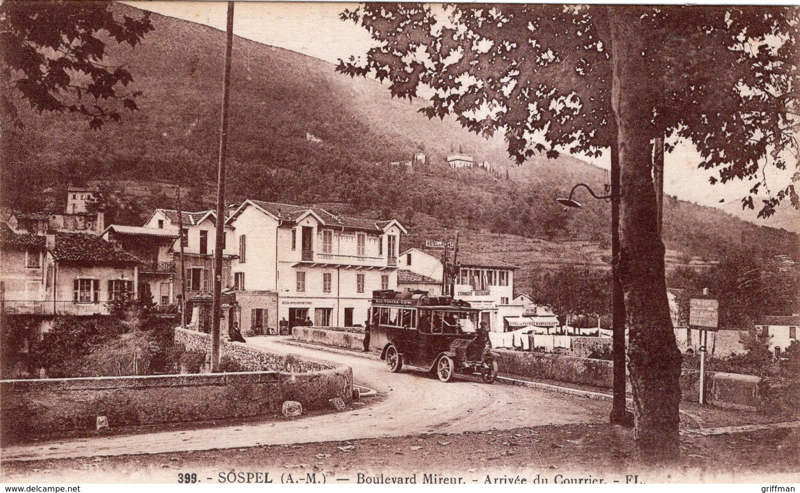 SOSPEL BOULEVARD MIREUR ARRIVEE DU COURRIER 1931 TBE - Sospel