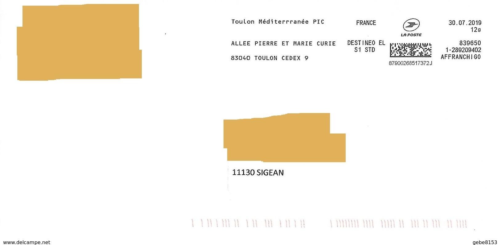 Affranchigo 12 Gr Destineo EL S1 STD Toulon Méditerranée Pic Pierre Et Marie Curie - Marcophilie (Lettres)