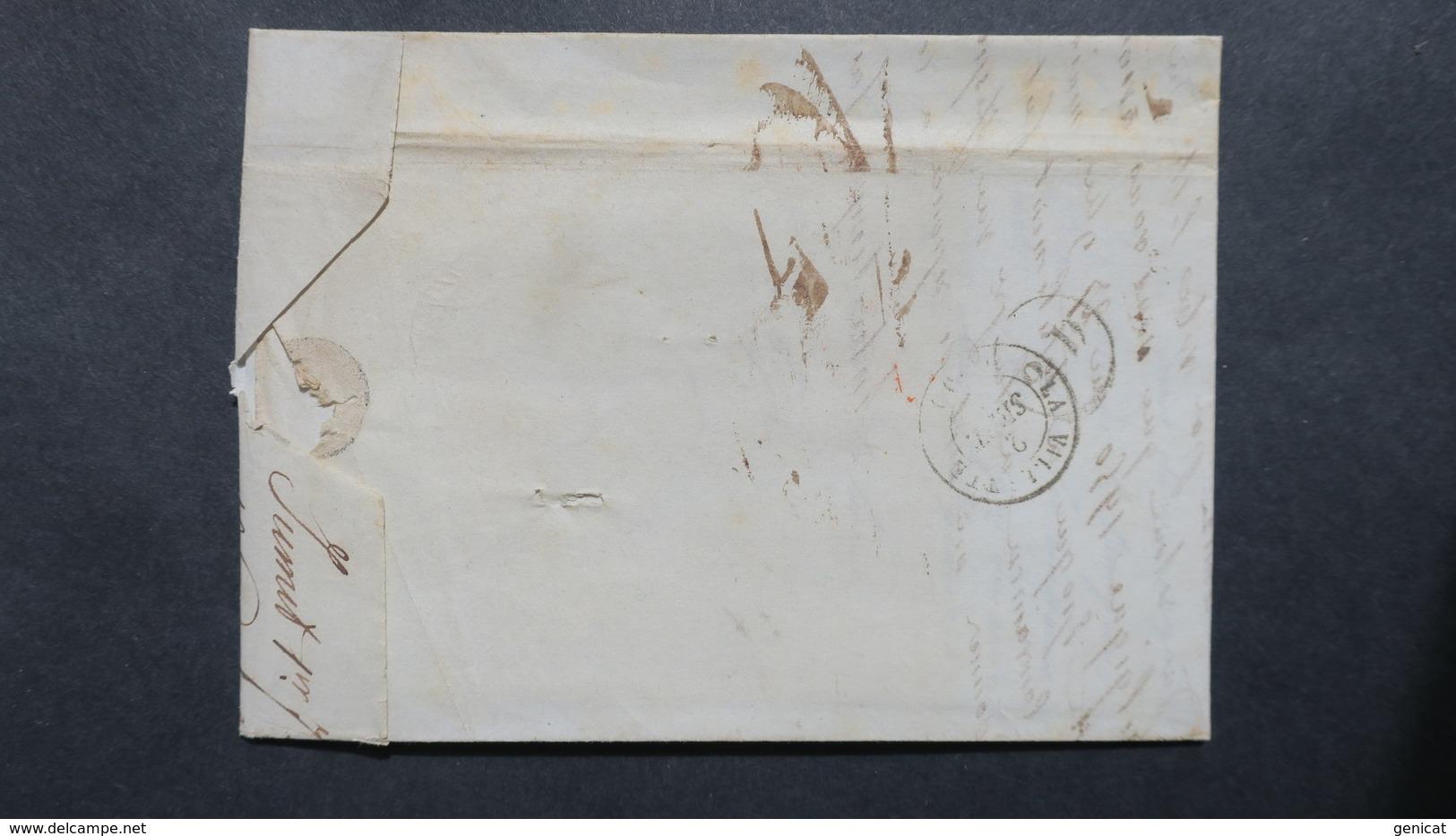 Belgique Lettre De Jumet 1848 Obl Gosselies Cachet Rect. R. Front. Et Entree Valenciennes 3 En Rouge Pour Paris - 1830-1849 (Independent Belgium)