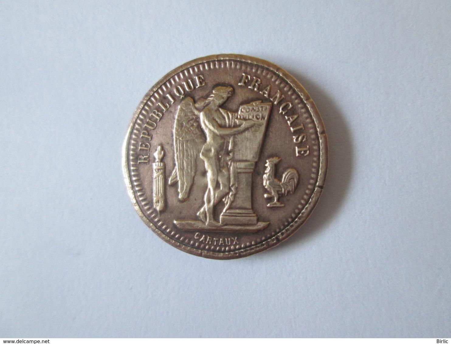 Rare! France Token/jeton 20 Francs 1902 Commerce Industrie - Profesionales / De Sociedad