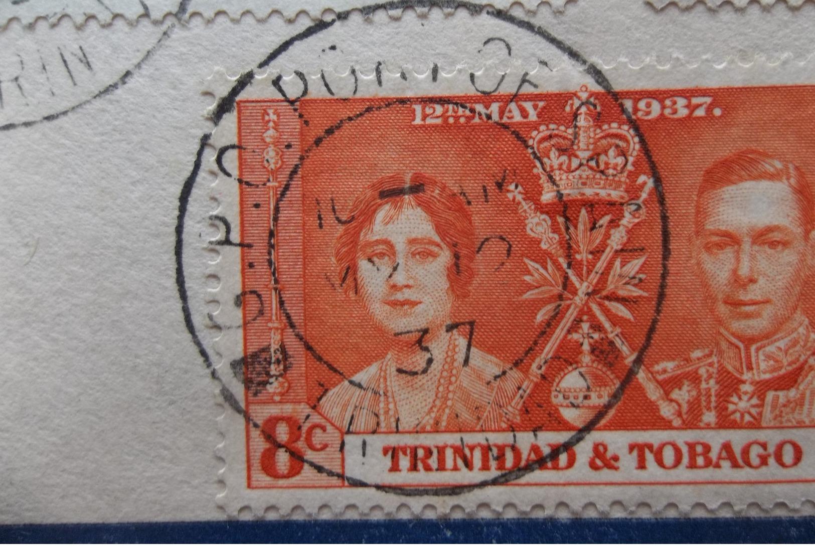 Trinidad & Tobago: 1937 Rgt. Ca-FDC To England (#AS10) - Trinidad & Tobago (...-1961)