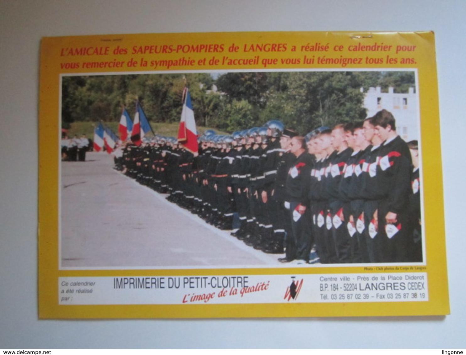 1998 Le Calendrier Des Sapeurs Pompiers De LANGRES - Calendriers