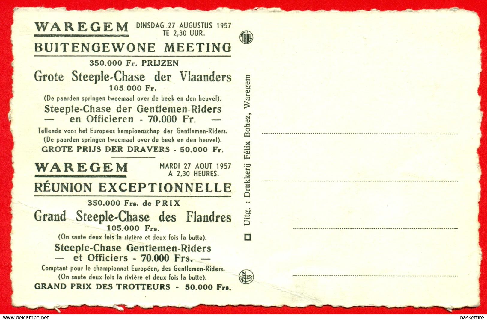 Waregem: Reklame Kaart - Grote Steeple-Chase Van Vlaanderen Dinsdag 27 Augustus 1957 - Waregem