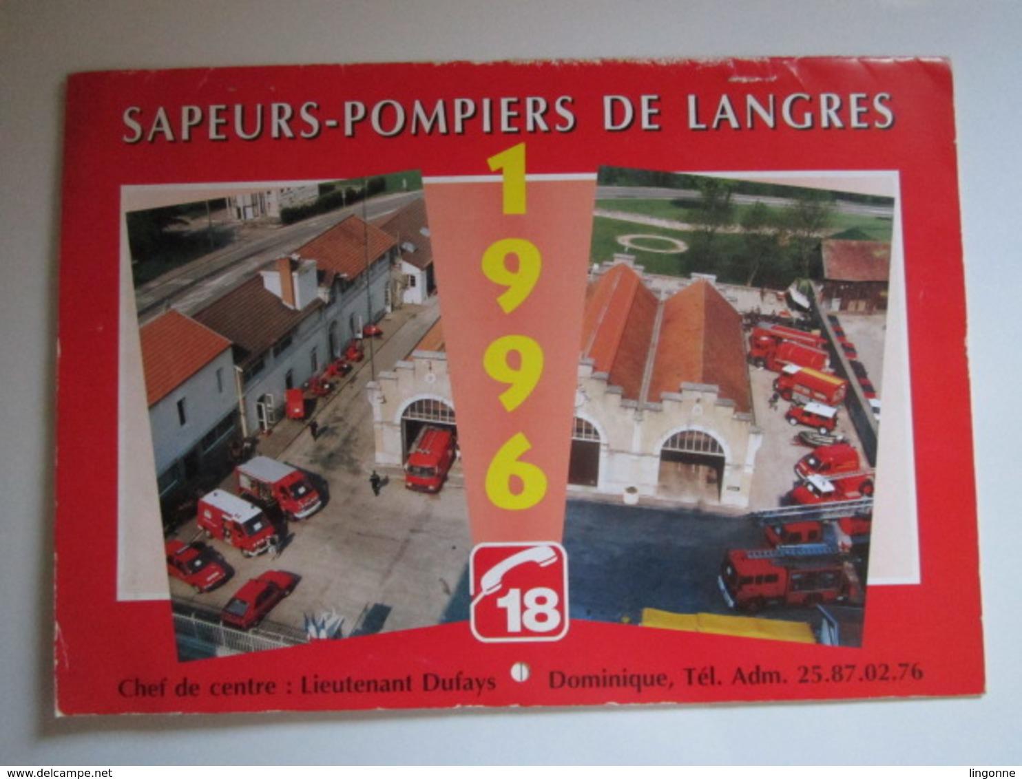 1996 Le Calendrier Des Sapeurs Pompiers De LANGRES - Grand Format : 1991-00