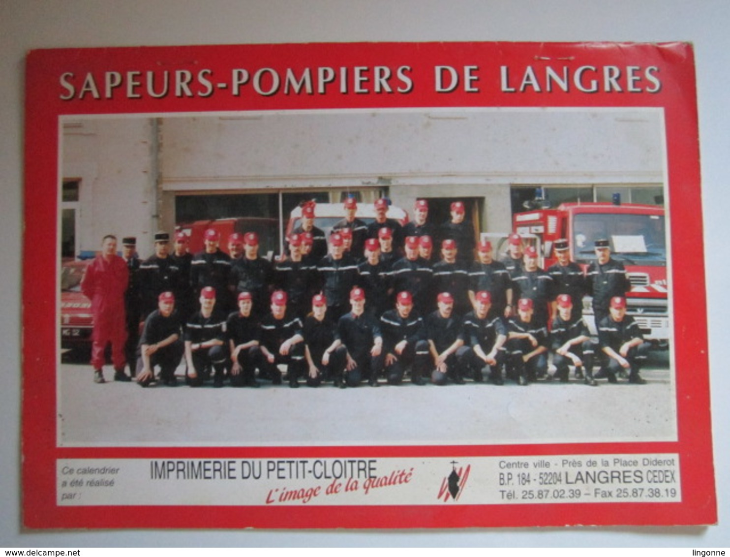 1996 Le Calendrier Des Sapeurs Pompiers De LANGRES - Calendriers