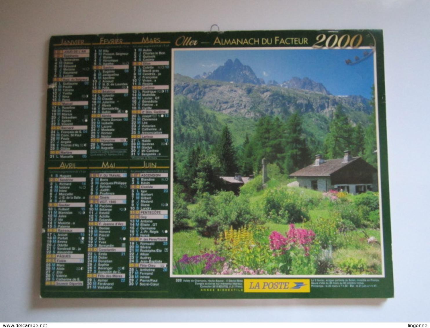 2000 ALMANACH DU FACTEUR Calendrier Des Postes HAUTE-MARNE 52 - Calendriers