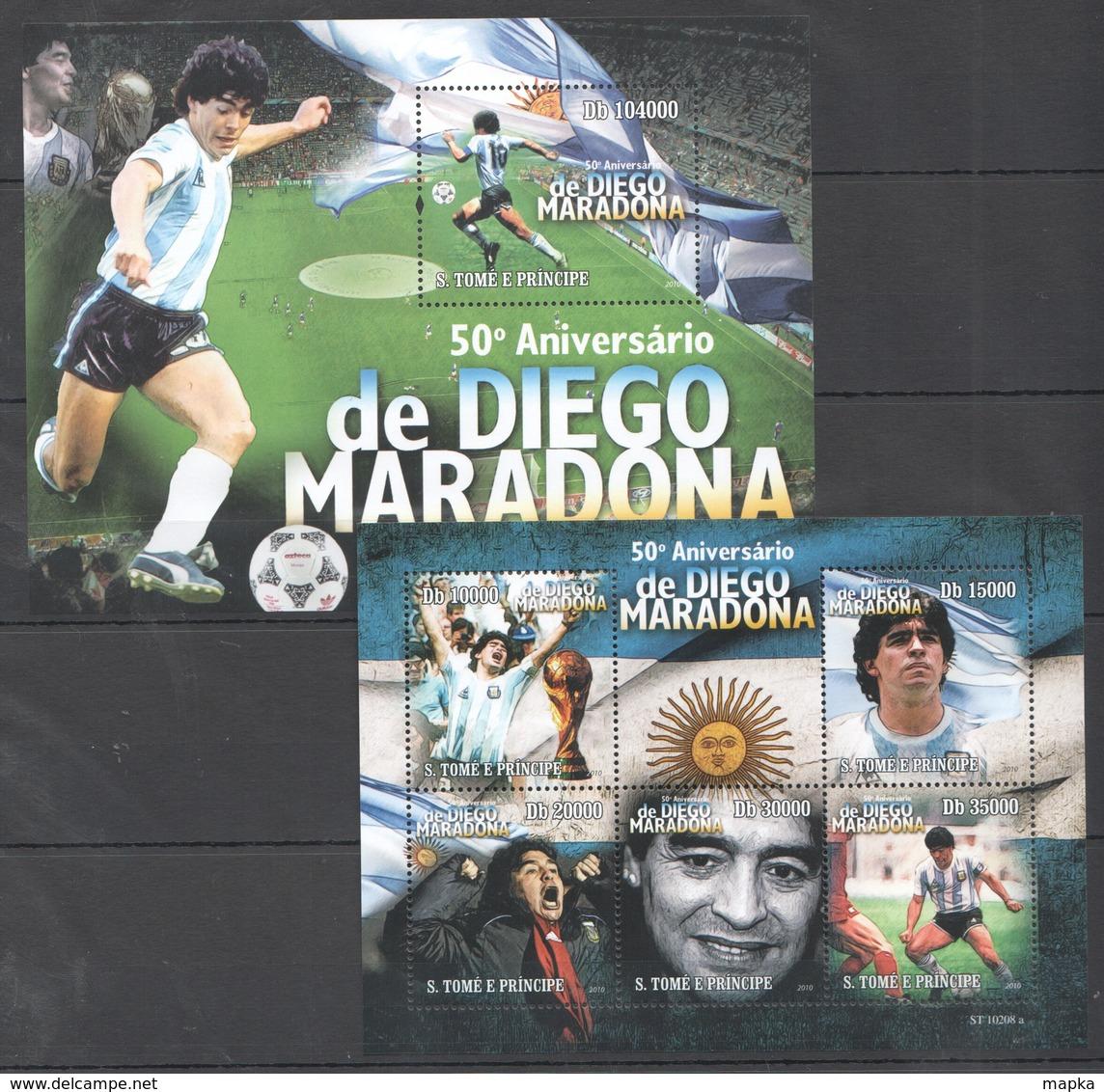 BC824 2010 S.TOME E PRINCIPE SPORT FOOTBALL LEGEND DIEGO MARADONNA 1KB+1BL MNH - Autres