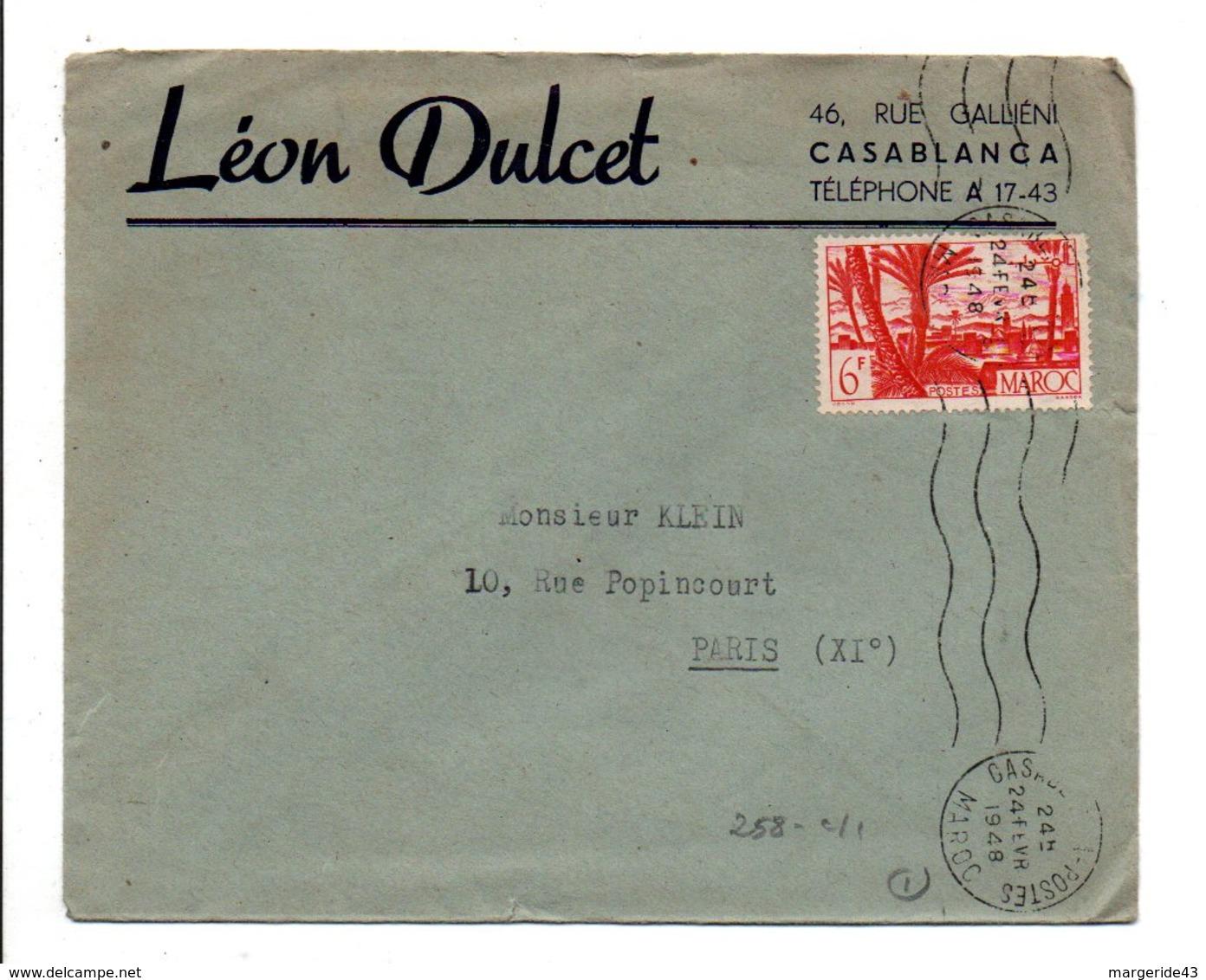 MAROC LETTRE A EN TETE DE  DE CASABLANCA POUR LA FRANCE 1948 - Lettres & Documents