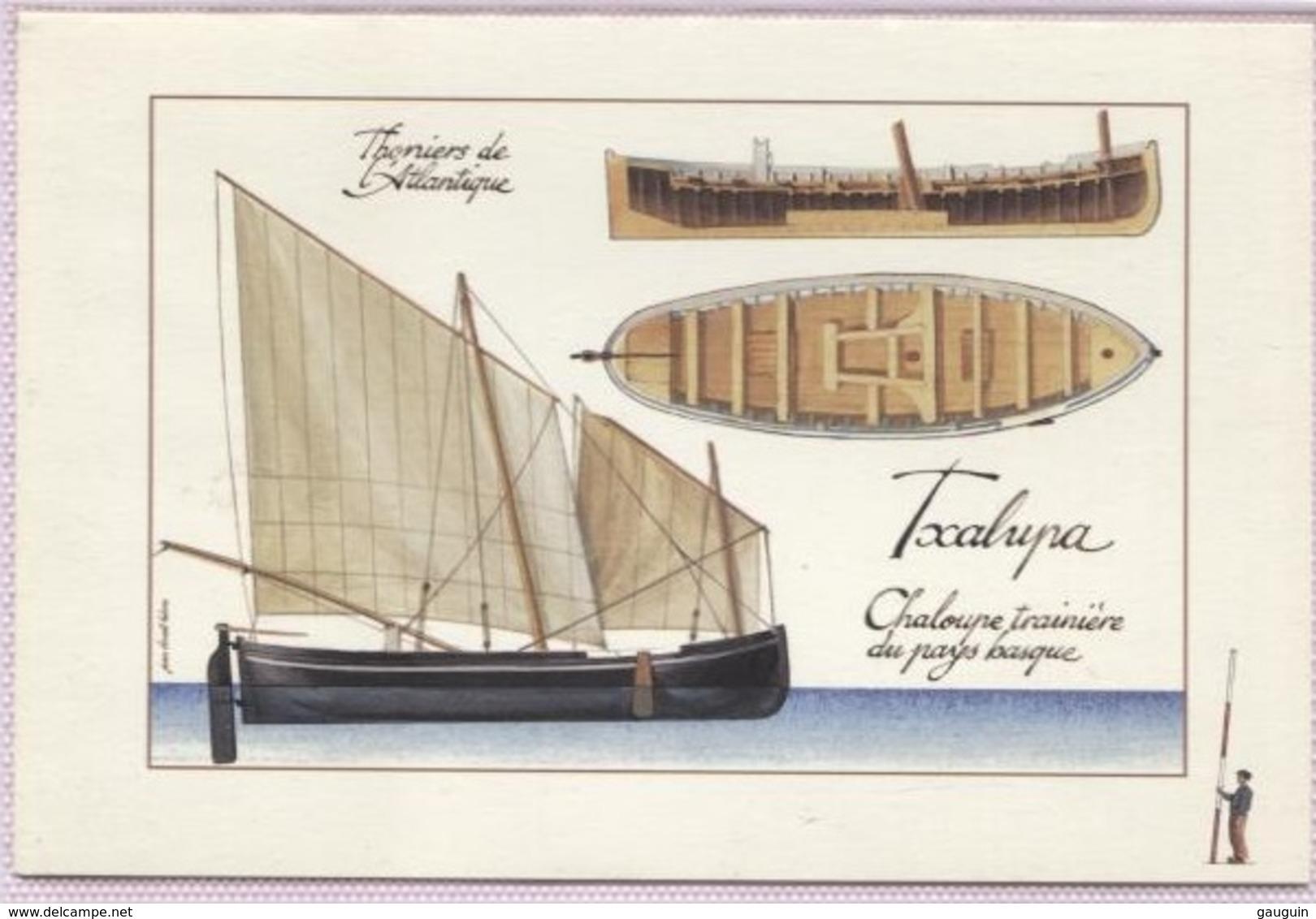 "CPM - THONIER - ""Chaloupe Traînière Du Pays Basque"" - Illustration Jean-Benoît HERON - Edition Gulf Stream - Pêche"